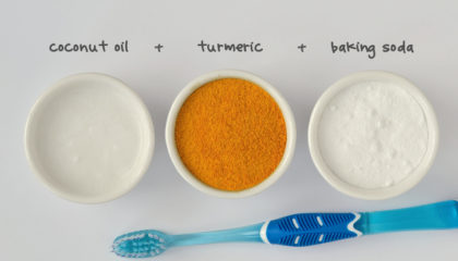 Homemade teeth whitening recipe made out of coconut oil, turmeric and baking soda